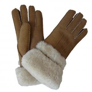 China High Quality Lambskin Fur Gloves Shearling Sheepskin Fashion Gloves With Fur Trim Cuff on sale