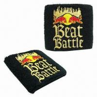 Cotton Wristband with Direct Embroidered Logo Manufactures