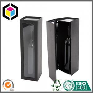 Shiny Black Color Printing Wine Box; Food Grade Plastic Window Paper Box Manufactures