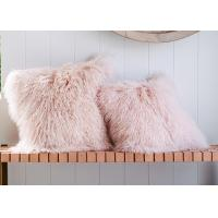 Long Wool Pink Mongolian Lamb Fur Throw Pillow 20x20 Inch For Air Condition Room Manufactures