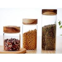 China Clear Custom Glass Food Storage Jars For Beans With Wood Lid , Longlife on sale