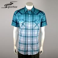 China Gradient Grid Short Shirt For Man , Mens Casual Short Sleeve Shirts Plus Size on sale