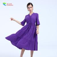 Female Plus Size Cotton Summer Dresses Short Sleeve With Garment Dyed Technic Manufactures