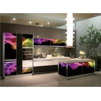 China Wholesale Temped 3D glass door L shape  kitchen cabinet with 5-burnner stove ,Midea microwave and oven on sale