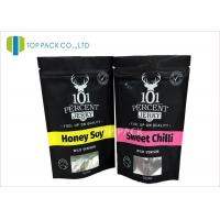 Matte Finished Aluminum Foil Bags Clear Window Beef Jerky Stand Packaging Manufactures