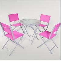 outdoor iron sling textilene mesh fabric folding armless chair and table garden furniture Manufactures