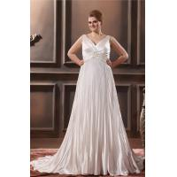 Glamorous V Neck Satin Ruffle Ivory Plus Size Designer Wedding Gowns With Applique Manufactures