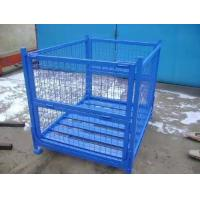 China Steel Stackable Storage Cages On Wheels Welded Wire Mesh Structure Durable on sale