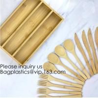 China 12-Piece Reusable Bamboo Flatware Set with Portable Storage Case,Chopping Board,Cheese Board,Pizza Board,Drawer Organzie on sale