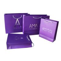 Purple Paper Printed Carrier Bag Foil Silvery Embossed for Advertising Manufactures