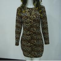 Stretchy Leopard Print Club Dress , Long Sleeve Velvet Bodycon Dress V Back Manufactures