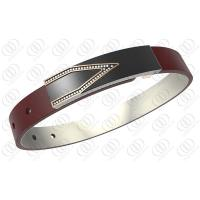 Clear CZ Cool Black Stainless Steel Bracelets , Red Fashion Leather Strap Bracelets Manufactures