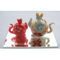 Red Glass Cat Statues Handmade Glass Animals Artist For Party Gift Manufactures