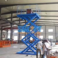 Blue Color Hydraulic Freight Elevator Goods Lift For Warehouse , 2 Years Warranty Manufactures