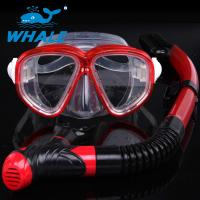 Portable Red Freediving Diving Snorkel Set With Anti Fog Treatment Reduces Fogging Manufactures