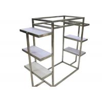Silver Brushed Stainless Steel Clothing Display Racks With White Wooden Shelves Manufactures