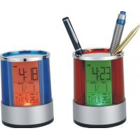 China OEM Electronic Desktop Calendar, Multicolor Backlight Brush Pot Promotion Gift on sale