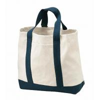China Stylish Two Tone Custom Printed Tote Bags For School Shopping Reusable on sale