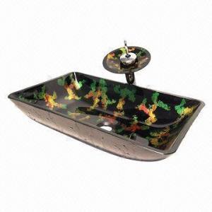 Glass sink/wash sink/wash basin/bathroom sink/wash bowl, measures 420 x 140mm Manufactures