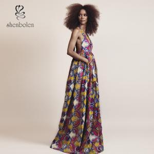 Elegant V Neck African Print Dresses Special Design For Women Africa Clothing Manufactures