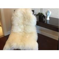 Home Decorative White Real Sheepskin Rug Long Merino Wool 60 X 90cm Natural Shape  Manufactures