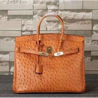China ladies high quality 35cm orange ostrich grain cowhide leather handbags top selling designer handbags L-RB4-17 on sale