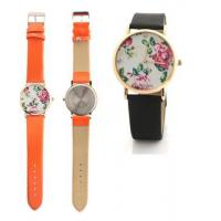 Colorful PU Leather Strap Women Flower Quartz Watches Plated Gold Bezel Manufactures