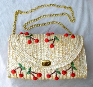 29803 Wheat straw handbag, cherry straw handbag, shoulder straw bag, beach straw bag Manufactures