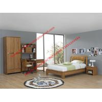 Bachelor room interior furniture fixture equitment by small size rubber solid wood bed and reading bookcase set Manufactures
