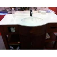 China Crystallized Glass Vanity Top/Pure White Artificial Vanity Top on sale