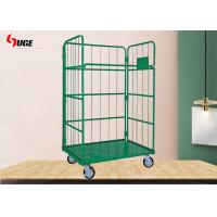 Quality Customized Size Heavy Duty Plastic Steel Mesh Cage Trolley Roll Box Powder Coated for sale