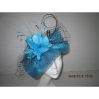 China Navy Blue Fashion Ladies Fascinator Hats With Veiling Feather Flowers Veiling on sale