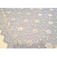 China Embroidered White And Blue Sequin Floral Lace Fabric With Scalloped Edging on sale