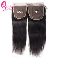 China Natural Black Raw Straight Virgin Hair Closures With Machine Skin Weft on sale