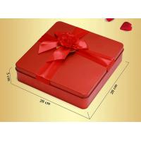 Red Custom Novelty Tea Tin Box Food Grade With Metalwire Lid / PS Window Manufactures