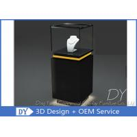 Pre - Assembly Black Exhibit Pedestal Display Showcase With Lighting Manufactures