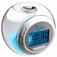 China Clock Radio with Calendar, 7-color Light and Nature Sound Snooze, Measuring 10.5 x 9.5 x 8.2cm on sale