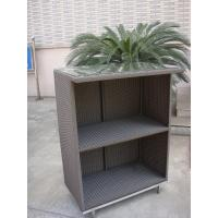 China Outdoor Dark Brown Resin Wicker Bar Set Table With Steel Frame on sale