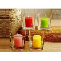 Best selling square glass candle holder with different colors