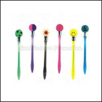 Hot Sale Cheap Promotional printed logo led light ball shape smile ballpoint pen gift Manufactures