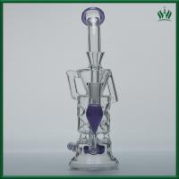 Purple Fluorescence Glass Water Bongs 10 Inches 14.4mm Female Joint With Showerhead Manufactures