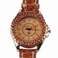 Ladies' Jewelry Watch, Alloy Case with Leather PVC Strap