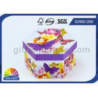 Recycled Printed Paper Gift Box with Lid / Hexagon Cardboard Paper Eco Friendly Packaging Boxes Manufactures