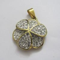Fashion Jewelry 316 Stainless Steel Crystal Pendants in Gold Plating Manufactures