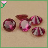 wholesale price 8mm round brilliant cut 5# synthetic red corundum stone Manufactures