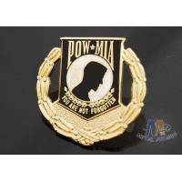 Custom Metal Hard Enamel Pow Mia Logo Lapel Pin Bages, Logo Effect Shiny Gold Silver Or Copper Plating Manufactures