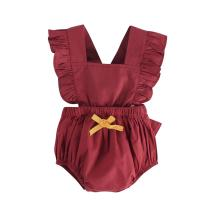 Sleeveless Unisex Baby Rompers / Solid Color Romper Baby Girl Jumpsuit Manufactures