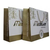 Gold White Paper Carrier Bag Of Made Line Lady Fashion Collection Twist Handle Embossed Logo Manufactures