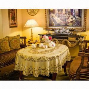 China Vinyl Golden/Silver Crochet Lace Table Cloth, Advanced 3D Vivid Fine Lace Design on sale