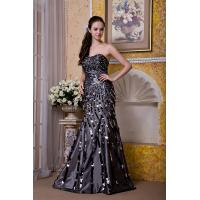 Luxurious Silver Strapless Mermaid Taffeta Sweep Train Evening Party Gowns With Sequins